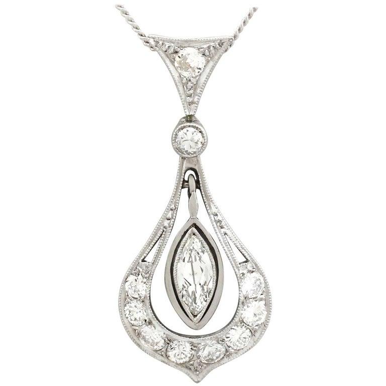 1930s Antique Diamond and Platinum Pendant For Sale