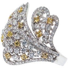 2.10 Carat Yellow White Diamond 18 Karat Gold Flower Tresor Cocktail Heart Ring