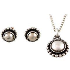 Georg Jensen, Moonlight Blossom Necklace and Ear Studs of Sterling Silver