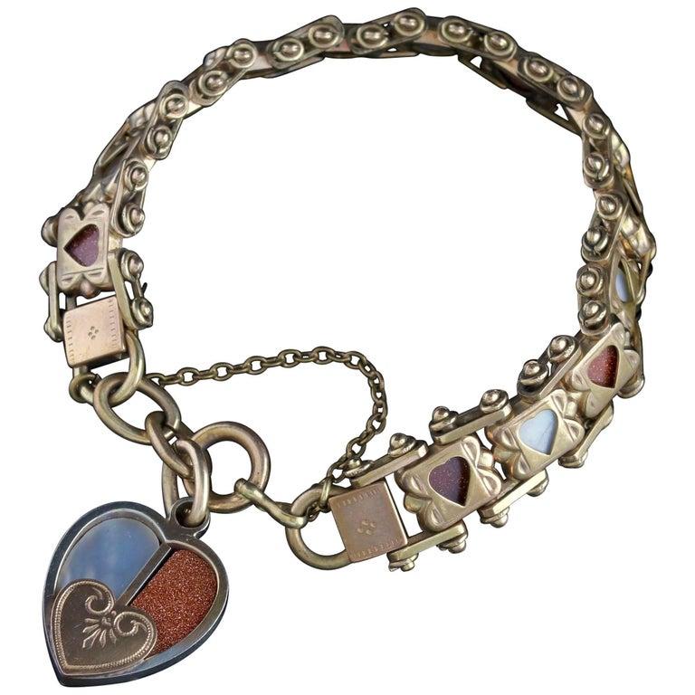 Antique Heart Bracelet Gold Gilt Aventurine Pearl, circa 1890