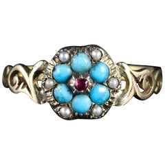 Antique Georgian Turquoise Ruby Pearl Ring Gold, circa 1810