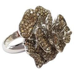 5.81 Carat Brown Diamond Flower Shape 18 Karat White Gold Band Cocktail Ring