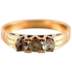 Gold Ring 14 Karat with Small Stones Art Deco, 1930s-1940s