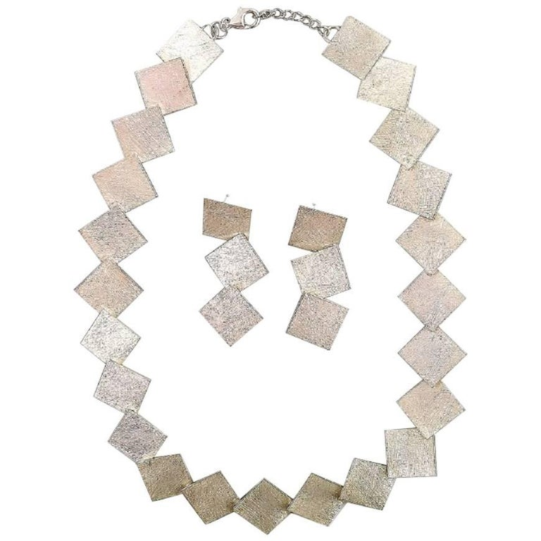 Danish Design Sterling Silver Necklace and Earrings in Modern Design