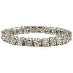 Modern, 27 Stone Diamond Eternity Ring, 0.75 Carat, G/H Color, SI Clarity