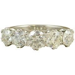 2.65 Carat Diamond Five-Stone Ring, Old Cut Diamonds, Modern Platinum Band