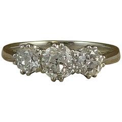 1.10 Carat Old Cut Diamond Ring, Hallmarked Platinum Band
