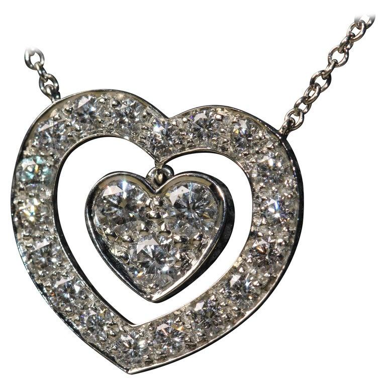 Tiffany & Co. Platinum Double Heart Necklace Set with 21 Diamonds