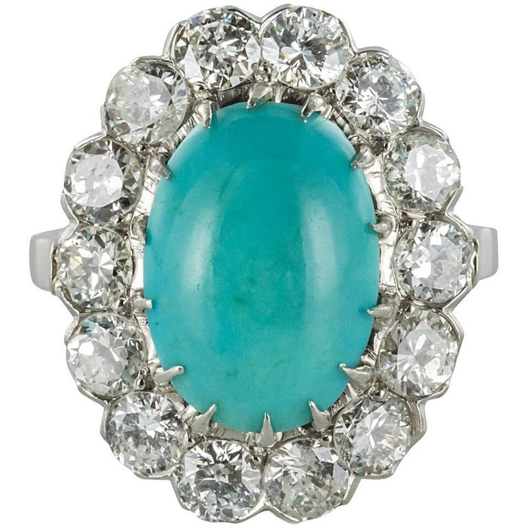 French 1960s Cabochon Turquoise Diamond White Gold Cluster Ring