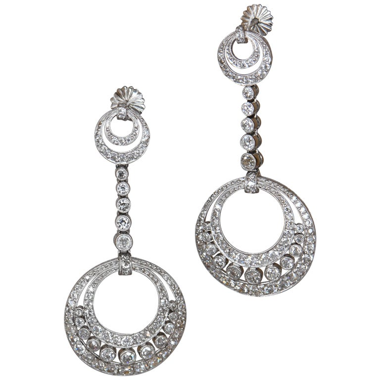 Platinum and Diamond Pendant Dangle Earrings