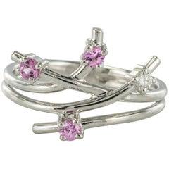 Modern Pink Sapphire Diamond Ring