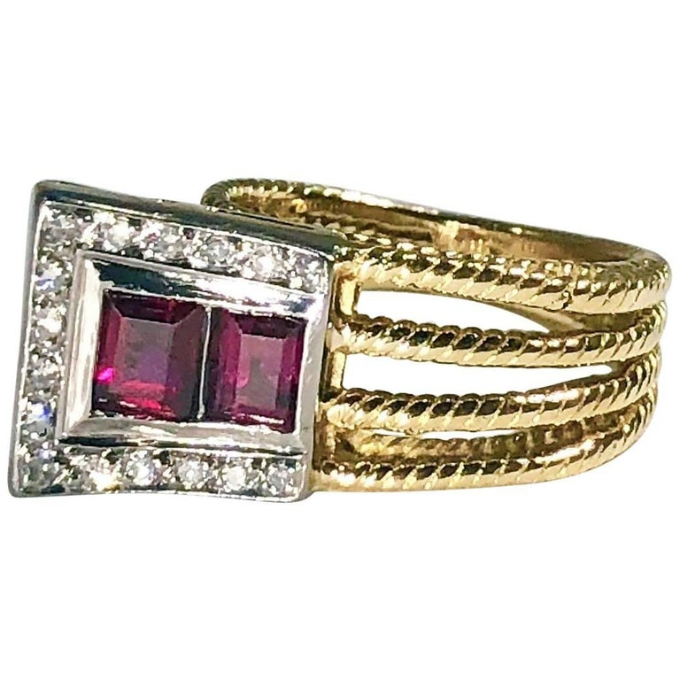 Vintage J Rossi 18 Karat Two-Tone European Cut Ruby and Diamond Fashion Ring For Sale
