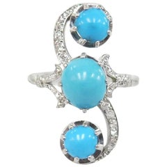 1920s Three Turquoise Ring with Old Cut Diamonds / Platinum