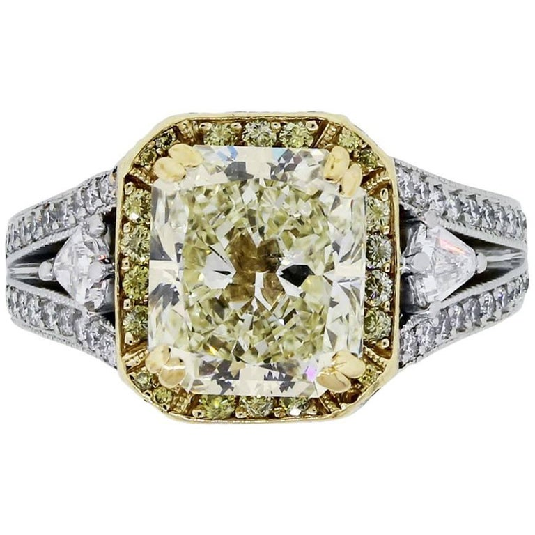 Gregg Ruth 3.42 Carat Radiant Cut Light Fancy Yellow Diamond Engagement Ring