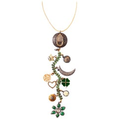 Clarissa Bronfman Emerald, Diamond, Bone, 'Tempest' Symbol Tree Necklace