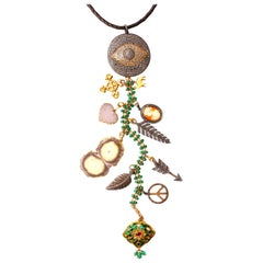 Clarissa Bronfman Agate, Emerald, Diamond 'Dreamcatcher' Symbol Tree Necklace