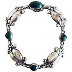 Georg Jensen Sterling Silver Bracelet No 11 with Green Stones