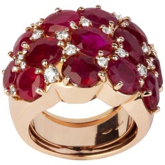 13.18 Carat Oval Cut Rubies, Round Diamonds, Valadier Dome Ring