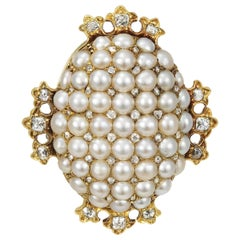 Vintage Brooch Old Mine Cut Diamonds with Seed Pearls and Gold