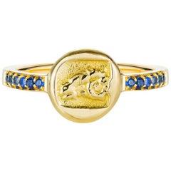 18 Karat Gold Ram Sapphire Ring