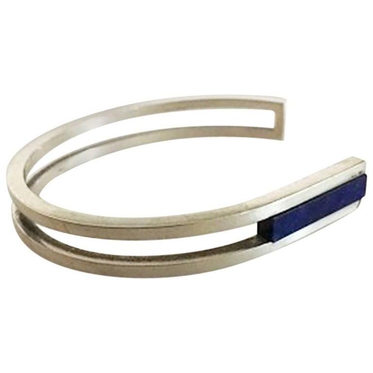 Georg Jensen Sterling Silver Bracelet #31B with Blue Ornament