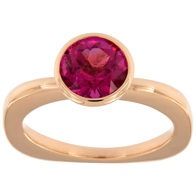 Goshwara Rubelite Gossip Stackable Gold Ring For Sale