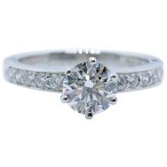 Tiffany & Co. Round Diamond Bead Set Engagement Ring 1.27 Carat F VVS2 Platinum
