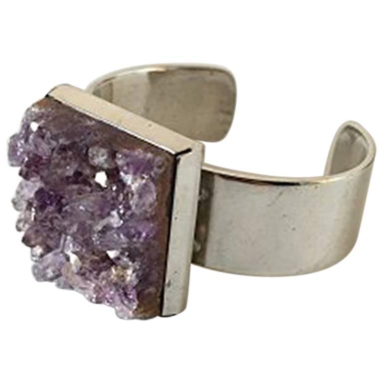 Bent Knudsen Sterling Silver Bracelet with Amethyst #173