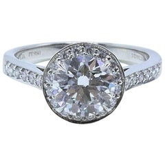 Tiffany & Co. Round Diamond Engagement Ring 1.51 Carat G VS2 in Platinum