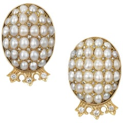 Vintage Gold Pearl and Diamond Earrings