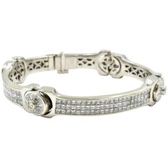 17.83 Carat Diamond Link Bracelet 14 Karat White Gold