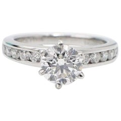 Tiffany & Co. Round Diamond Engagement Ring with Diamond Band 1.38 Carat F VVS2