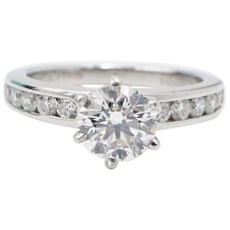Tiffany & Co. Round Diamond Engagement Ring with Diamond Band 1.38 Carat F VVS2
