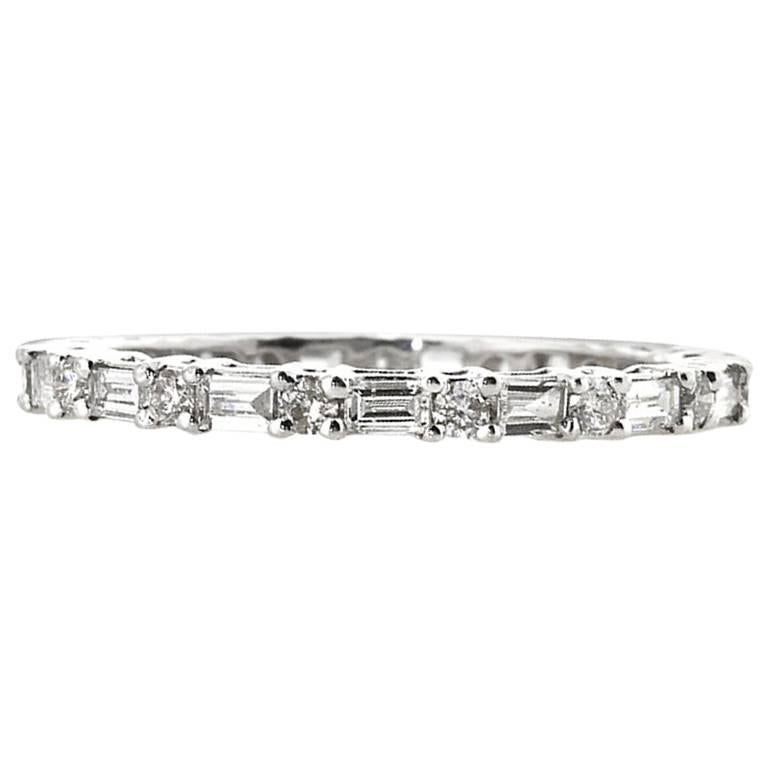 Mark Broumand 0.85ct Baguette Cut and Round Brilliant Cut Diamond Eternity Band