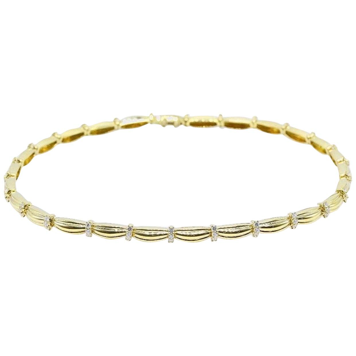 Tiffany & Co. 1992 Diamonds and 18 Karat Yellow Gold Station Necklace 4.00 Carat
