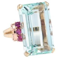 Aquamarine Ruby Retro Cocktail 14 Karat Gold   Ring