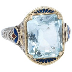 Art Deco Aquamarine Enamel Filigree  14 Karat White Gold  Ring