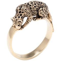 Leopard Cat Ring  14 Karat Gold Fine Animal Jewelry Heirloom