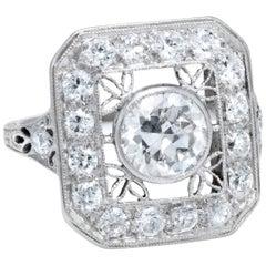 Art Deco Platinum Diamond Square Cocktail Ring