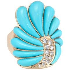 John Tolle Turquoise Diamond Cocktail Ring