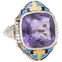 Art Deco Amethyst Seed Pearl Enamel Cocktail Ring 14 Karat Gold