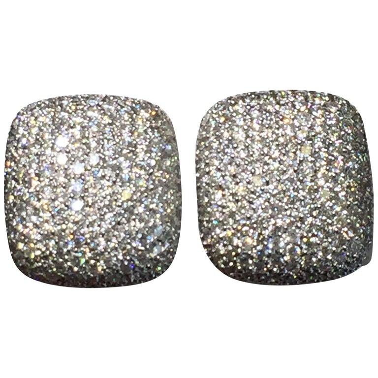 White Diamond Pave Earrings in 18 Karat White Gold