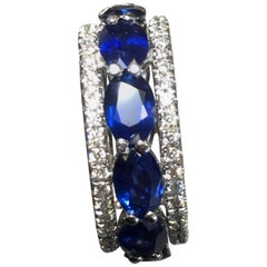 Blue Sapphire and White Diamond Band in 18 Karat White Gold