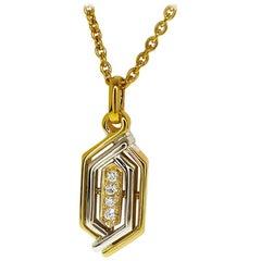 Christian Dior 0.13 Carat Diamond 18 Karat Yellow White Gold Pendant Necklace