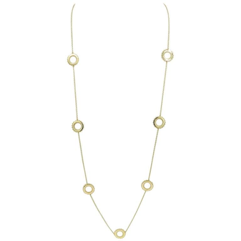 18 Karat Yellow Gold Garavelli Long Necklace with Handmade Circle Motivs