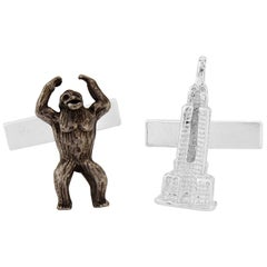 King Kong and Empire States Cufflinks in Sterling Silver and black Rhodium
