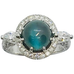 Matsuzaki 4.28 Carat Round Cabochon Alexandrite Cat's Eye Diamond Platinum Ring