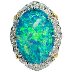 Matsuzaki 20.35 Carat Oval Cabochon Black Opal Diamond Platinum Cocktail Ring