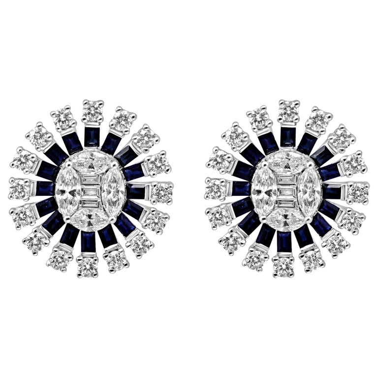 18Kt White Gold Diamond and Sapphire gemstones Oval Cluster Push-Back Earrings