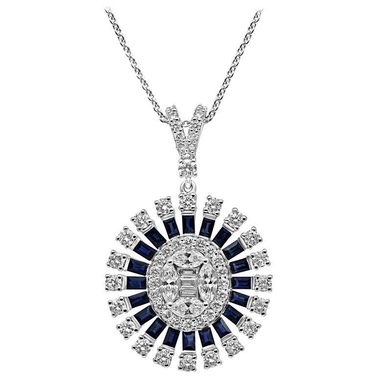 18 Karat White Gold Diamond and Sapphire Oval Cluster Necklace Pendant